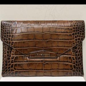 Givenchy Antigona Crocodile Envelope Clutch Bag